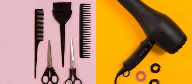 Combs and hairdresser tools on color background top view. Copy space. Flat lay. Still life. Mock-up